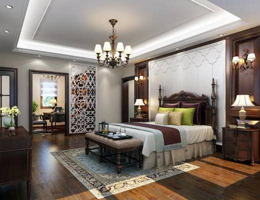 下得乐2019季千套模型, 美式, 卧室, 吊灯, 双人床, 床头柜, 台灯