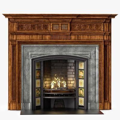 下得乐品牌模型库, 复古, 复古壁炉, 壁炉, 美式