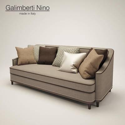 下得乐品牌模型库, 美式, 多人沙发, 沙发