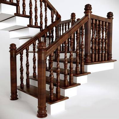 2000套高精3D单体模型, 下得乐品牌模型库, 美式, 楼梯