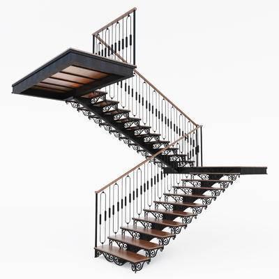 2000套高精3D单体模型, 美式, 楼梯, 扶手, 栏杆