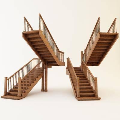 2000套高精3D单体模型, 下得乐品牌模型库, 美式, 楼梯, 扶手, 栏杆