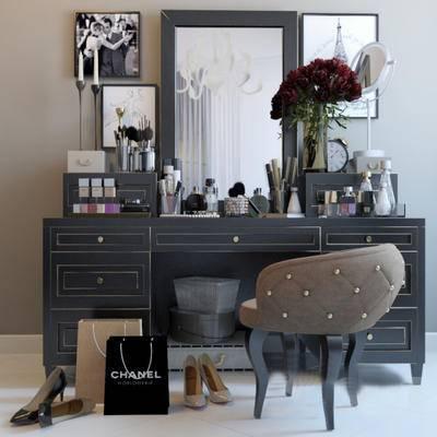 2000套高精3D单体模型, 美式, 田园风格, 梳妆台, 摆件, 单椅, 梳妆镜