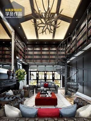 1000套空间酷赠送模型, 美式, 多人沙发, 单人沙发, 茶几, 摆件