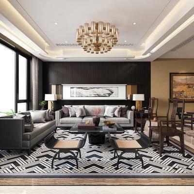 下得乐2019季千套模型, 中式, 客厅, 多人沙发, 茶几, 吊灯, 单椅