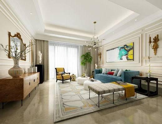1000套空间酷赠送模型, 欧式, 多人沙发, 单人沙发, 茶几, 花瓶, 摆件, 挂画, 客厅