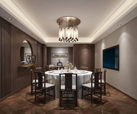 下得乐2019季千套模型, 中式, 包间, 单椅, 餐桌, 吊灯