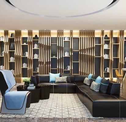 下得乐2019季千套模型, 现代, 洽谈区, 茶几, 多人沙发
