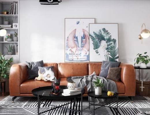 北欧客厅, 客厅, 北欧沙发, 沙发茶几, 落地灯, 盆栽, 置物柜, 摆件