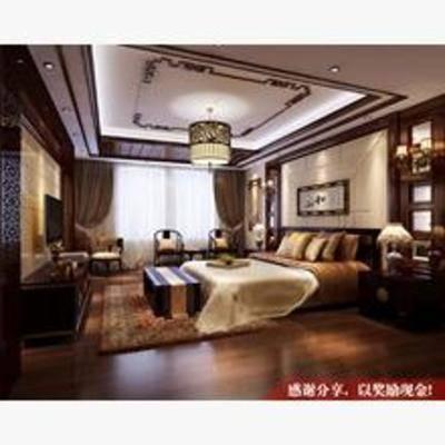 新中式, 卧室, 吊灯, 挂画, 床, 窗帘, 床头柜, 台灯, 电视柜, 地毯, 单椅