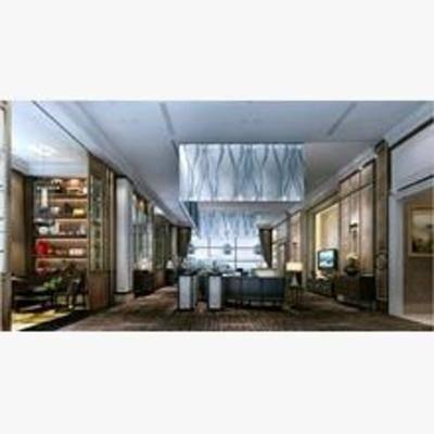 新中式, 客厅, 置物架, 沙发, 茶几