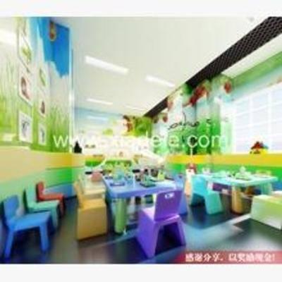 现代, 幼儿园, 椅子, 长桌