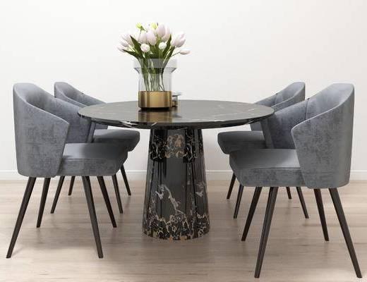 现代餐桌椅, 餐桌椅, 桌椅组合