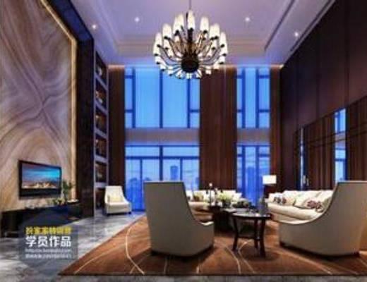 新中式, 客餐厅, 客厅, 茶几, 沙发, 椅子, 吊灯