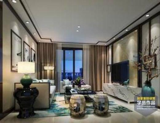 茶几, 沙发, 椅子, 吊灯, 客厅, 新中式