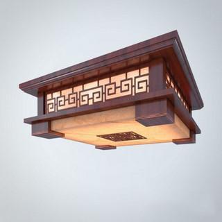 新中式仿古方形木雕吸顶灯