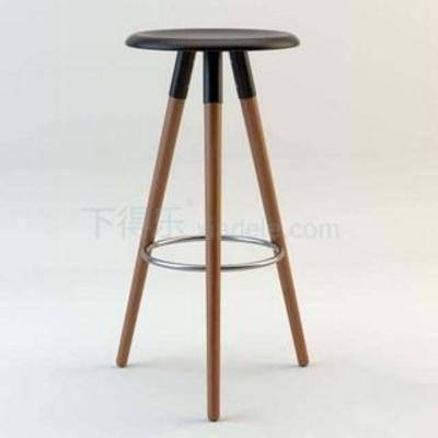 酒吧椅, 简约实木, 三脚凳, 咖啡桌椅, 高脚凳, loft, 美式乡村风格