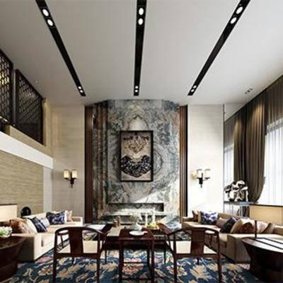新中式, 客厅, 挂画, 沙发, 茶几, 摆件, 下得乐3888套模型合辑