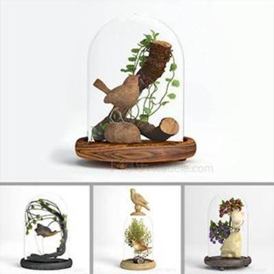 模型合集, 玻璃工艺品, 玻璃盅饰品, 端景台装饰品, 瓷器, 艺术品, 陶罐, 陶瓷, 花瓶, 装饰品, 软装, 陈列品, 模型