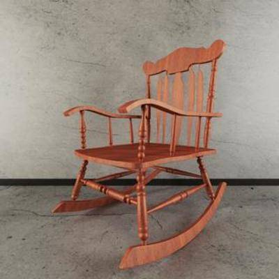 田园摇椅, 田园椅子, 现代椅子, 摇椅, 3D模型下载, 椅子, 美式田园