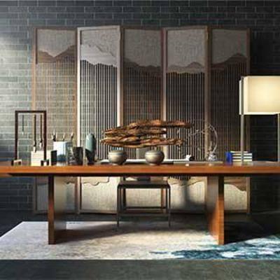 台灯, 中式风格, 桌椅组合, 书桌, 瓷器, 器皿, 实木桌, 镂空隔断, 木艺屏风, 木艺雕塑摆件, 毛笔, 中式, 下得乐3888套模型合辑