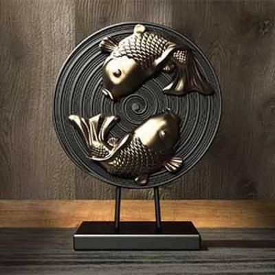 陈列品, 装饰品, 摆件, 雕塑饰品, 雕塑鱼, 金鱼, 铜艺雕塑