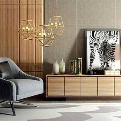 台灯, 现代简约, 陈列品, 装饰品, 铁艺吊灯, 瓷器, 装饰画, 布艺沙发椅, 实木电视柜, 下得乐3888套模型合辑