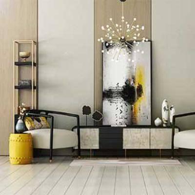 吊灯, 装饰柜, 中式风格, 边柜, 花瓶, 装饰画, 布艺休闲椅, 铁艺置物架, 植物装饰品, 鼓凳, 下得乐3888套模型合辑