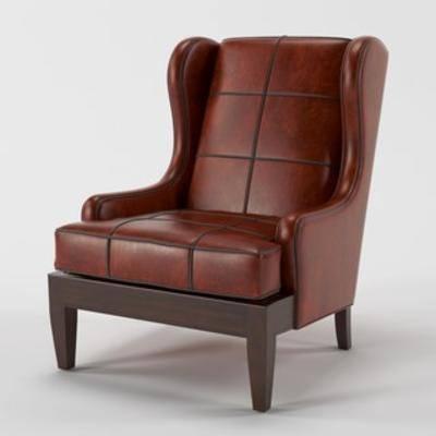 皮革, 单人沙发, 模型, 欧式, 椅子, 沙发椅