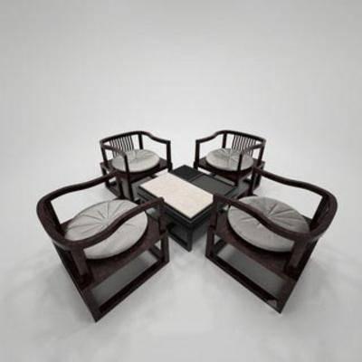 中式风格, 桌椅组合, 中式桌椅, 国外模型, 中式, 下得乐3888套模型合辑