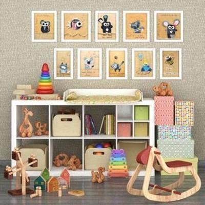 实木置物柜, 儿童玩具, 收纳盒, 装饰画