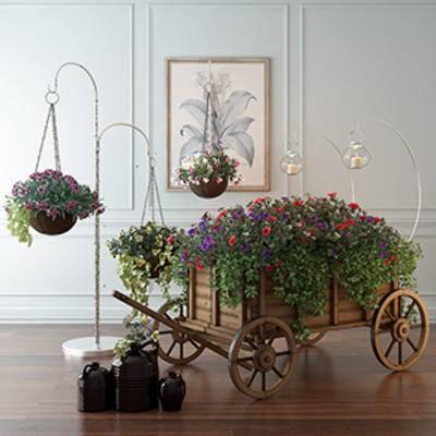 盆栽装饰品, 盆栽植物, 装饰品组合, 植物装饰品, 装饰品, 现代, 下得乐3888套模型合辑