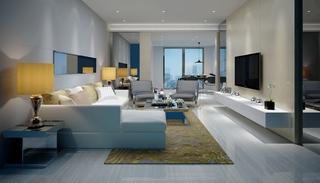 沙发组合,台灯,边柜,后现代风格客厅,宽敞