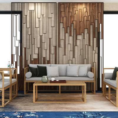 沙发茶几, 中式风格, 屏风, 高雅, 中式, 下得乐3888套模型合辑