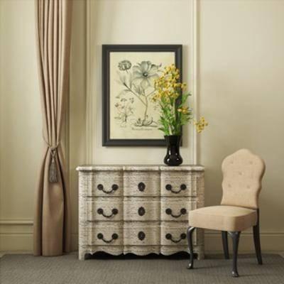 美式风格, 窗帘, 边柜, 单人椅, 摆设品, 现代窗帘, 下得乐3888套模型合辑