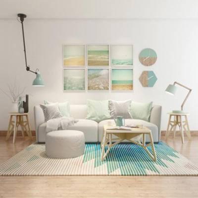 沙发茶几, 灯, 装饰画组合, 摆设品, 现代, 地毯, 下得乐3888套模型合辑
