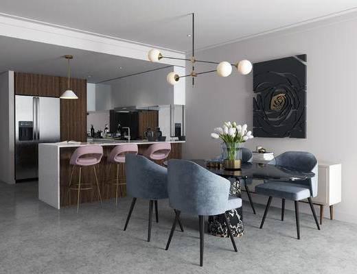 现代厨房, 厨房, 餐桌椅, 餐厅, 现代餐厅