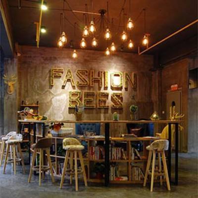 书吧, 摆设品, 吧台, 吧椅, 灯, 书柜, 工业风, 桌子椅子