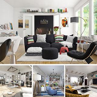 沙发茶几,椅子,桌子,窗帘,灯,摆设品,北欧客厅