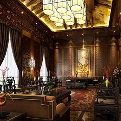中式客厅, 窗帘, 沙发茶几组合, 中式