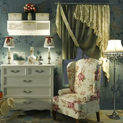 美式风格, 组合, 边柜, 单人椅, 乡村风格, 现代窗帘