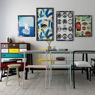 桌椅组合, 美式风格, 桌椅, 组合, 边柜, 乡村风格, 美式