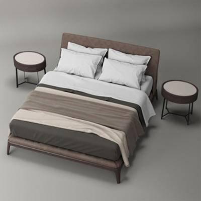 国外模型, 双人床, 现代简约