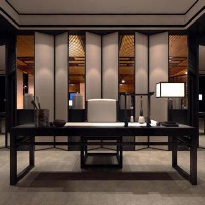 中式, 桌椅组合, 屏风, 灯, 书桌椅组合, 摆设品, 下得乐3888套模型合辑
