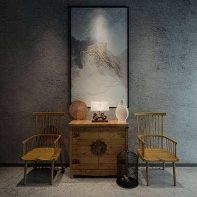 中式, 桌椅组合, 组合, 边柜, 陈设品, 摆设品, 单椅, 下得乐3888套模型合辑
