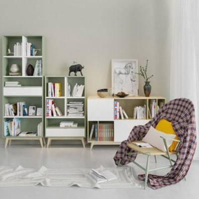 现代简约, 组合, 书柜, 边柜, 单椅