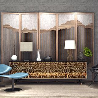 新中式单椅电视柜陈设品组合