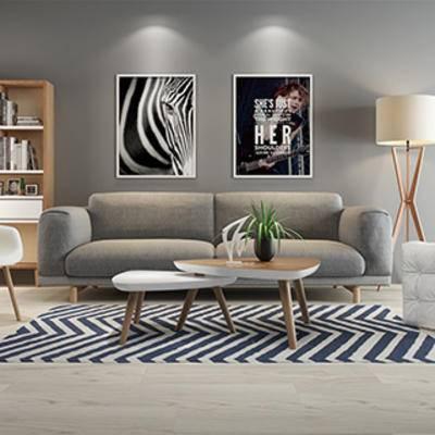 沙发茶几组合, 简约, 北欧沙发, 书柜, 灯, 陈设品, 北欧, 装饰画组合, 下得乐3888套模型合辑