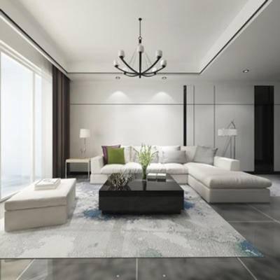 沙发茶几组合, 现代简约, 灯, 陈设品, 现代