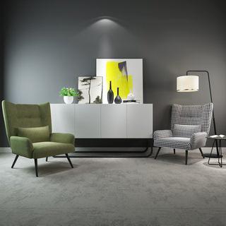 现代简约单椅边柜陈设品组合